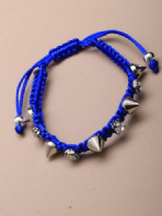 Coloured corded diamante crystal and spike bracelet (Code 0453)